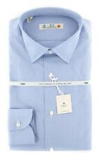 New $600 Borrelli Light Blue Micro-Check Shirt - Extra Slim - (2018032126)
