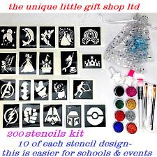 GLITTER TATTOO KIT boys and girls 200 stencils 10 of each 8glitter glue brushes