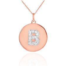 "14k Rose Gold Letter ""B"" Initial Diamond Disc Charm Pendant Necklace"