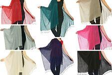 Lujoso Cachemira 80% Lana & 20% SEDA Pashmina Chal Envolvente Bufanda 11 Colores