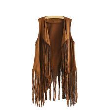 Women Autumn Winter Faux Suede Ethnic Sleeveless Tassels Fringed Vest Cardigan