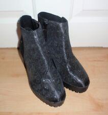 BNWT Primark ladies black floral print block heel ankle boots - various sizes