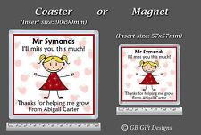 Personalised Coaster or Magnet Teacher/Teaching Asst Nursery Child Minder Gift