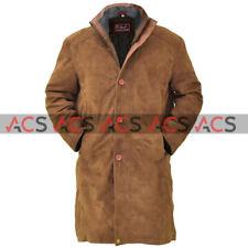Mens Western Cowboy Trucker Tan Brown Cowhide Suede Leather Long Coat Jacket