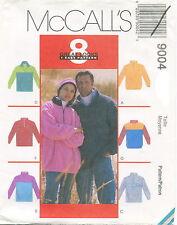 McCalls 9004 Misses Mens Unisex Fleece Tops & Headband Sewing Pattern