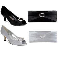 Women's Ruffle Effect Diamante Low Heel Ladies Smart Clutch Bag Shoes Set