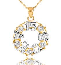 14K Two Tone Yellow Gold 15 Quinceañera Años 5 CZ Stones Round Pendant Necklace
