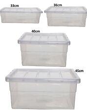 Cajas de almacenaje de plástico transparente con tapa Apilable maestro de ahorro de espacio