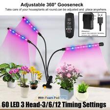 60 LED 3 Head Grow Light Hydroponic Garden Plant Desk 360° Flexible Clip Lamp US