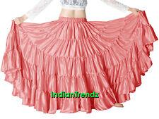 Salmon Satin 25 Yard 5 Tiered Gypsy Skirt Belly Dance Tribal Jupe Flamenco