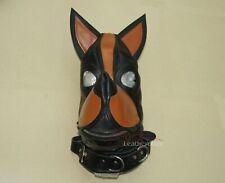 Leather S&M Dog Mask Hood Face Slave Bondage BDSM
