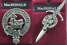 MacDonald Scottish Clan Crest Pewter Badge or Kilt Pin