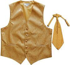 New Men's Paisley Tuxedo Vest Waistcoat & Ascot Cravat Wedding Prom Gold