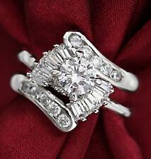 18K WHITE GOLD GF VINTAGE infinity LAB DIAMOND LADY ANNIVERSARY WEDDING RING SET