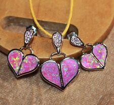 pink fire opal Cz earrings pendant set gemstone silver jewelry cocktail stud