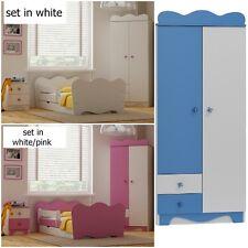 new 5 pc CHILDREN FURNITURE SET 4 colours BED+DRAWER MATTRESS wardrobe pink blue