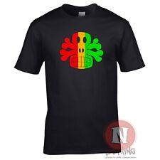 RASTA SKULL AND CROSSBONES reggae dub club rave T-shirt
