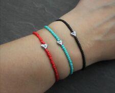Armband Schwarz Rot Türkis Perlen Herz Hämatit Perle Elastisch Zierlich Geschenk