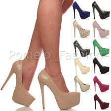 Mujer de las Señoras Delgado Fiesta de Taco Alto Plataforma Inteligente Formal Bombas Tribunal Zapatos Talla