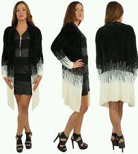 Women Faux Fur Cardigan Outerwear Knit Sweater Jumper Loose Jacket UK8 /14 Cream
