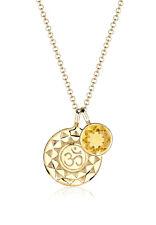 Om Halskette vergoldet 925 Sterling Silber Citrin Stein GOLDHIMMEL Talisman NEU