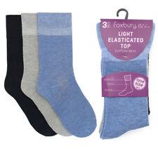 Ladies Foxbury Light Elasticated Top Cotton Rick Socks pack of 3 SK260