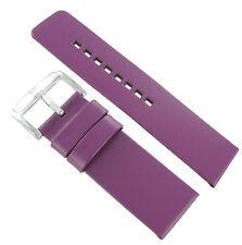 24mm Hirsch Fashion Genuine Leather Flat Unstitched Purple Watch Band Strap