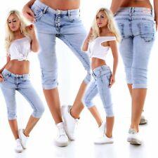 5532 Lässige Damen Jeans Hose Baggy Boyfriend Slimfit Knopfleiste Wadenlang