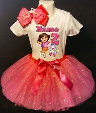 Dora the Explorer --With NAME-- 2nd Birthday Dress shirt 2pc Fuchsia Tutu outfit