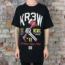 KREW protéger votre cou imprimé à manches courtes T-shirt NEUF en Noir-Taille: L, XL