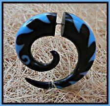 Fake Horn Gauge Carved Handmade Spiral Light Blue Earring Split Hook Silver Bar