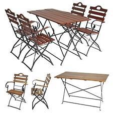 Biergarten-Garnitur Graz, Bistro-Set Garten, Holz Tisch+Stühle, klappbar, Akazie