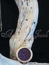 Original Sterlina mi Milano necklace/pendant Violeta Cristal coin/moneda Oro ajmm