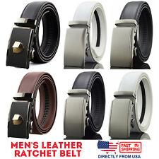 Men's Genuine Leather Exact Fit Automatic Buckle Ratchet Business Dress Belt