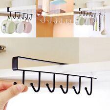 Wardrobe Kitchen Organizer Cup Holder Storage Rack 6 Hooks Glass Mug Holder