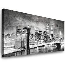 LEINWAND BILDER NEW YORK SKYLINE STADT XXL WANDBILDER PANORAMA BILD AUFGESPANNT