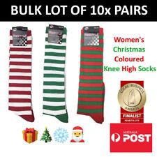 Women's Striped Christmas Coloured Knee High Socks BULK LOT OF 10x PAIRS