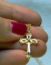 18KGP Garnet Czech Crystal Cross Necklace -Made in Czech