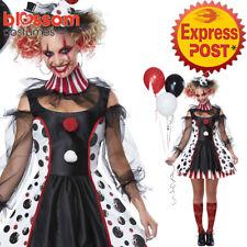CA465 Ladies Twisted Clown Jester Halloween Harlequin Circus Fancy Dress Costume