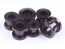 PAIR - BLACK Stainless Steel - SCREW Ear Gauges Ear Plugs Flesh Tunnel 12g - 00g