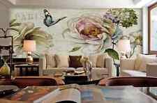 3D Fiori, farfalle 77 Parete Murale Carta da parati immagine sfondo muro stampa