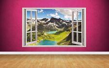 Beautiful Mountain Window Scene 3D style wall art Sticker full colour print kids