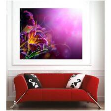 Affiche poster vue fleur fond violet  7543216