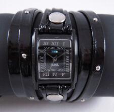 LA MER Watch Blk Patent Stud Layer Leather Wrap