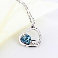Halskette Anhänger Silberkette Geschenk Kristall Weihnacht Herz Liebe Familie 1A