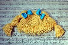 Cabbage Patch Kid Crochet Hat Wig  Dark Blonde Pigtails Infant Toddler Adult