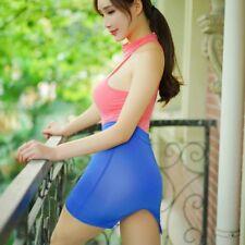 Women's Leopard Sheer Slit Skirt Erotic Mini Bodycon See Through Short Clubwear