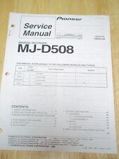 Pioneer Service Manual ~ MJ-D508 Minidisc Recorder ~ Original ~ Reparatur