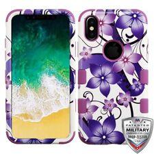Purple Romantic Flower Blossom Garden Hybrid Cover Phone Case for Apple iPhone 8