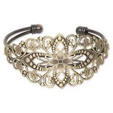 Brass Cuff Bracelet Antiqued Filigree Steampunk Jewelry 7-1/2 inch Adjustable